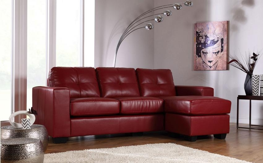 Red Leather Sofas – Red Leather Sofa With Chrome Legs, Red Leather Pertaining To Dark Red Leather Sofas (Image 18 of 20)