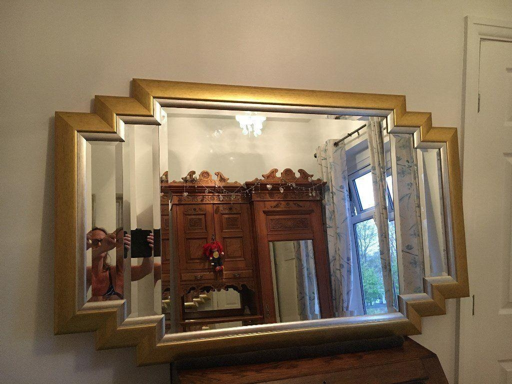 Reduced – Beautiful Large Vintage Gold Framed Art Deco Mirror With Regard To Art Deco Large Mirror (Image 20 of 20)