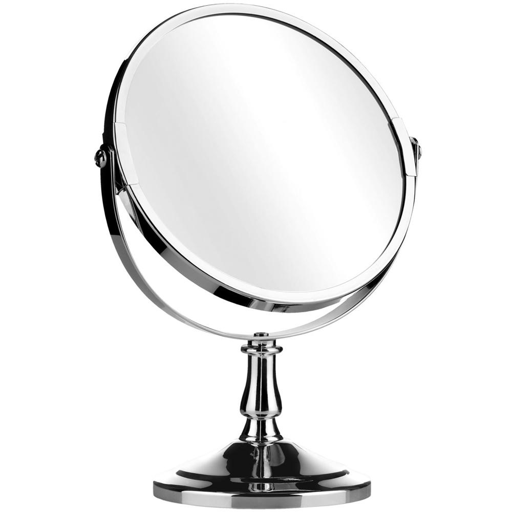 Reflect – Round Free Standing Silver Chrome Bathroom / Make Up Within Small Free Standing Mirror (Image 11 of 20)