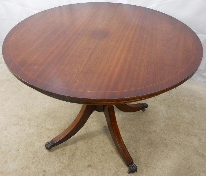 Regency Style Round Mahogany Extending Dining Table To Seat Six Within Mahogany Extending Dining Tables (Image 17 of 20)
