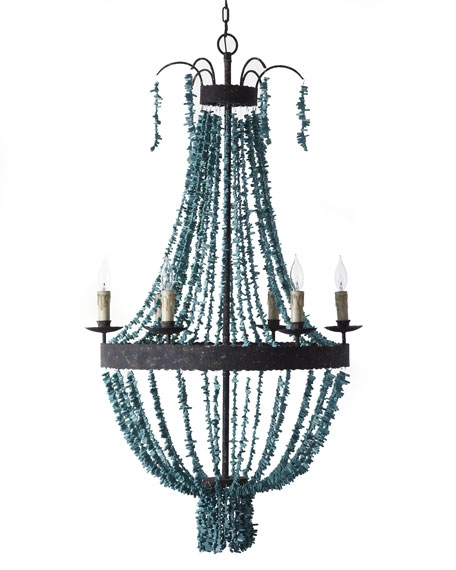 Regina Andrew Design Turquoise Beads 6 Light Chandelier With Regard To Turquoise Beads Sixlight Chandeliers (Image 17 of 25)