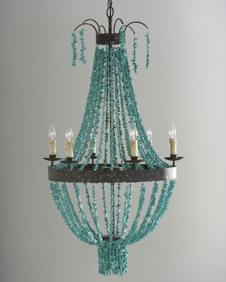 Regina Andrew Design Turquoise Beads 6 Light Chandelier Within Turquoise Beads SixLight Chandeliers (Image 18 of 25)