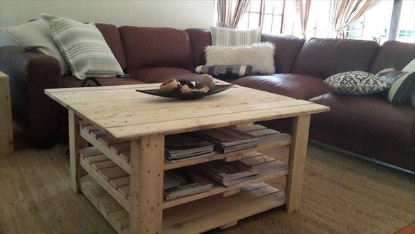 Remarkable Best Coffee Tables With Magazine Storage Regarding Diy Pallet Coffee Table With Magazine Rack 99 Pallets (Image 33 of 50)