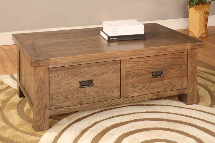 Remarkable Best Rustic Coffee Table Drawers Throughout Brooklyn Rustic Oak 2 Drawer Coffee Table Oak Furniture Solutions (Image 34 of 50)