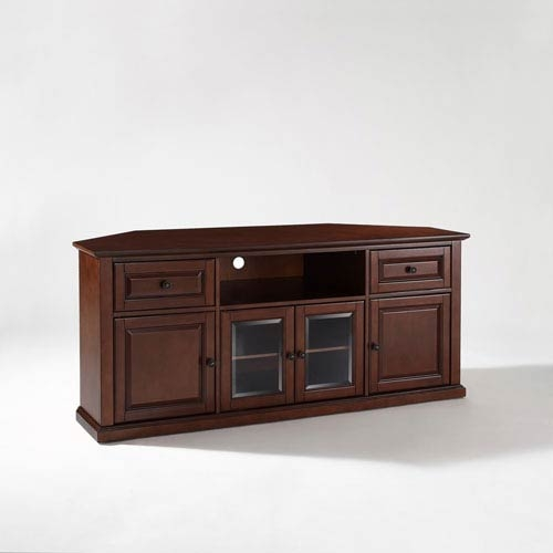 Remarkable Brand New Corner TV Stands With Drawers Inside 60 Inch Corner Tv Stand In Vintage Mahogany Crosley Furniture (Image 41 of 50)