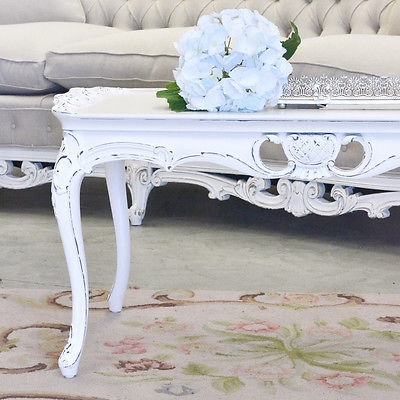 Remarkable Brand New French White Coffee Tables Pertaining To Shab Cottage Chic White Coffee Table Vintage French Style (View 27 of 50)