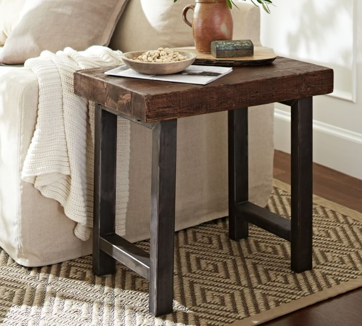 Remarkable Brand New Griffin Coffee Tables Throughout Griffin Reclaimed Wood Side Table Pottery Barn (View 21 of 50)