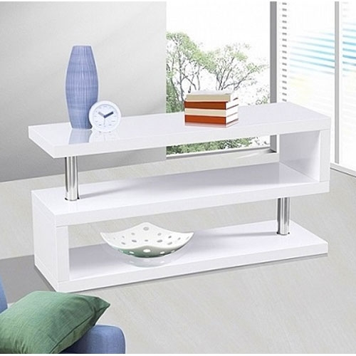 Remarkable Brand New High Gloss White TV Cabinets Within White Modern Tv Stand Modern Tv Matt White Modern 3 Drawer (View 15 of 50)
