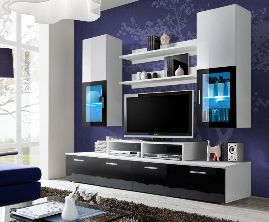 Remarkable Brand New Modular TV Stands Furniture Throughout Impeccable Modular Entertainment Unit Introducing Attached Wall (Image 39 of 50)
