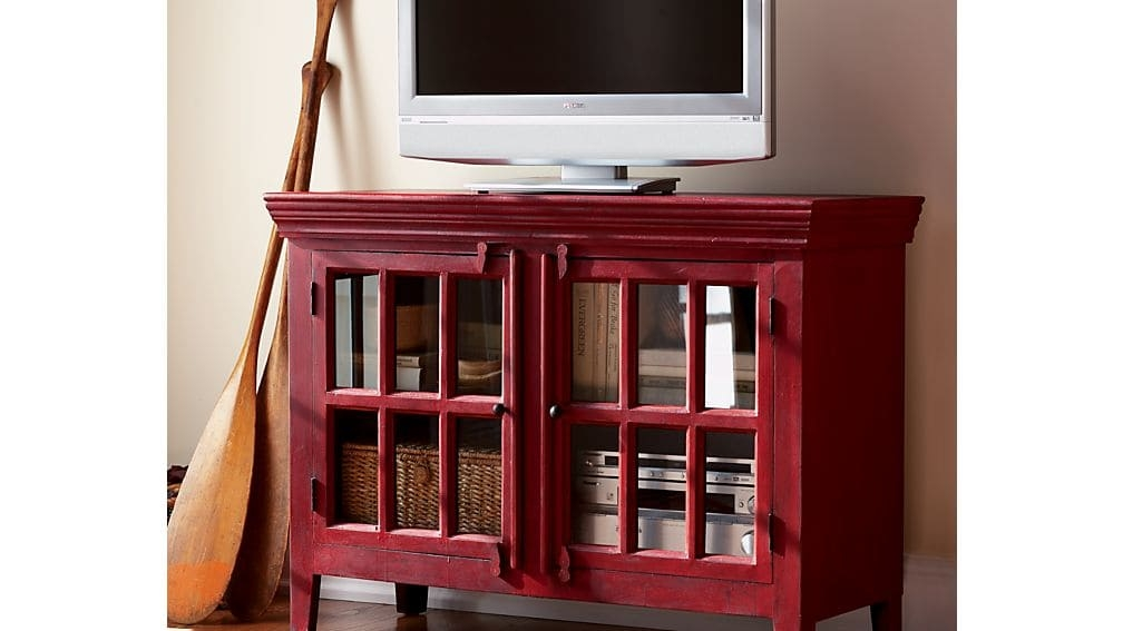 Remarkable Brand New Rustic Red TV Stands Inside Rojo Red 46 Media Storage Cabinet Crate And Barrel (View 16 of 50)