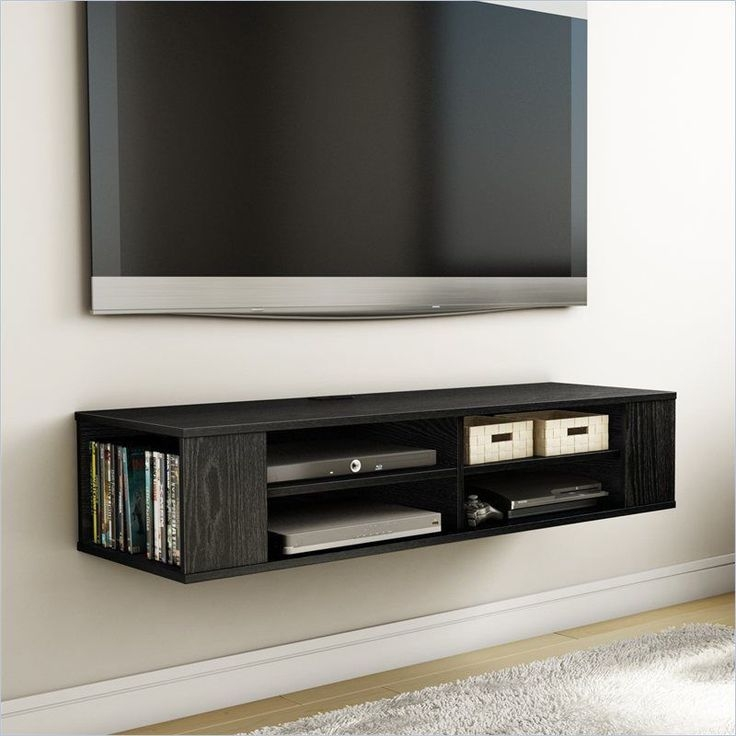 Remarkable Brand New Small Black TV Cabinets With Regard To Wall Mounted Media Console Black Tv Stand Entertainment Center (Image 37 of 50)