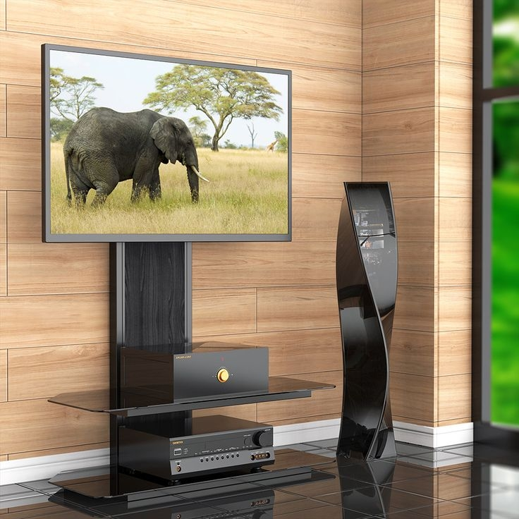 Remarkable Brand New Swivel Black Glass TV Stands For Tv Stands 2017 Stylish Tv Stand With Swivel Mount For Flat Panel (Image 38 of 50)