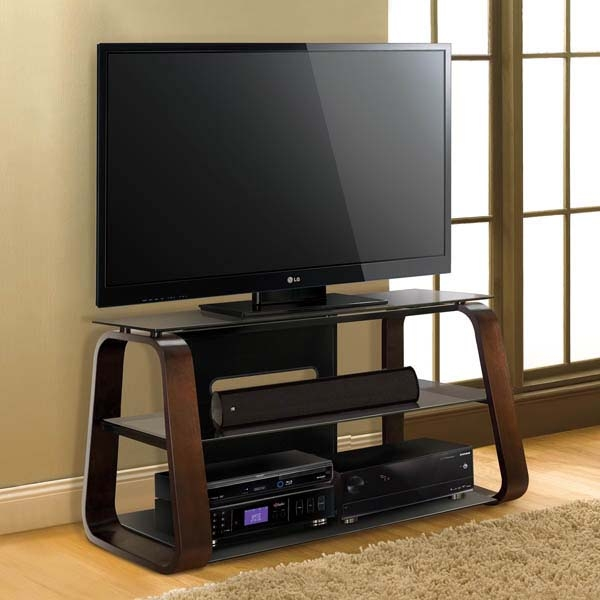 Remarkable Brand New Wooden TV Stands For 55 Inch Flat Screen With Regard To Bello Curved Wood 55 Inch Tv Stand With Tinted Glass Deep Espresso (View 7 of 50)