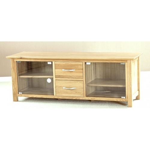 Remarkable Common Glass TV Cabinets With Doors Within Helsinki Oak Large Glass Door Tv Cabinet (Image 37 of 50)