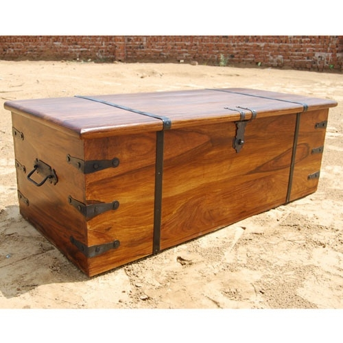 Remarkable Common Large Coffee Table With Storage Intended For Large Solid Wood Storage Box Trunk Chest Coffee Table W Wrought (Photo 34 of 50)