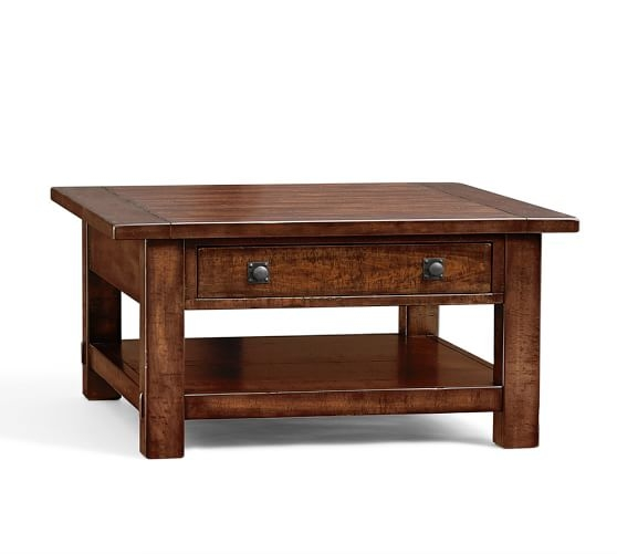 Remarkable Common Mahogany Coffee Tables Intended For Benchwright Square Coffee Table Rustic Mahogany Pottery Barn (Image 36 of 50)