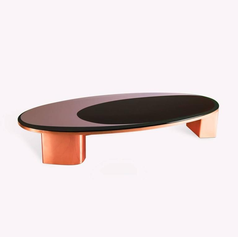 Remarkable Common Oval Shaped Coffee Tables Inside 21st Century European Copper And Resin Inlay Oval Shaped Coffee (View 50 of 50)