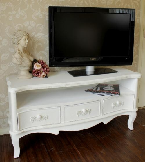 Remarkable Common Small White TV Cabinets Within White Wooden Tv Unit Cabinet Shab Ornate Chic Vintage Living (Image 33 of 50)