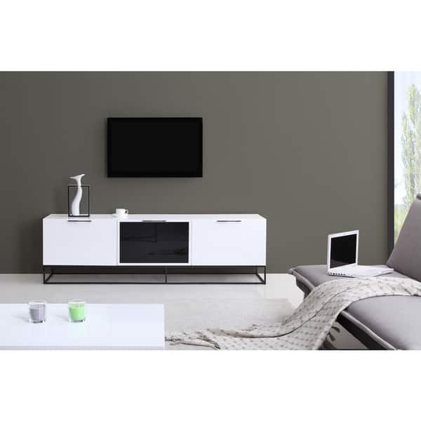Remarkable Common White Gloss TV Stands Within B Modern Animator High Gloss White Black Modern Ir Tv Stand (Image 39 of 50)