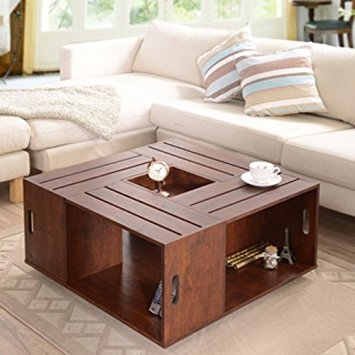 Remarkable Deluxe Coffee Tables With Box Storage Intended For Amazon Square Crate Walnut Coffee Table With Open Shelf (Image 42 of 50)
