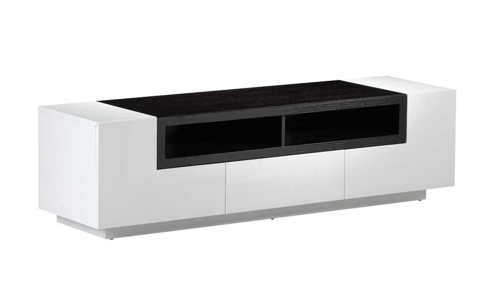 Remarkable Deluxe Contemporary Black TV Stands Within Tv002 White Gloss Dark Oak Tv Stand J M Furniture (View 4 of 50)