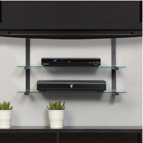 Remarkable Deluxe Floating Glass TV Stands Inside Wall Mounted Tv With Floating Shelves 13 Image Wall Shelves (Image 35 of 50)