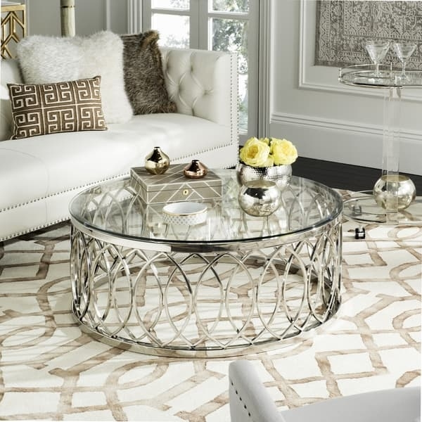 Remarkable Deluxe Safavieh Coffee Tables Throughout Safavieh High Line Collection April Glass Top Coffee Table Free (View 28 of 50)