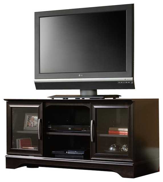 Remarkable Deluxe TV Stands With Mount Inside Sauder Panel Tv Stand With Post Mount In Estate Black (Image 38 of 50)
