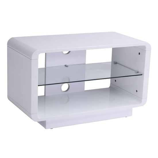 Remarkable Deluxe White High Gloss Corner TV Stands Within Lucia Tv Stand Small In High Gloss White With Glass Shelf (Image 41 of 50)