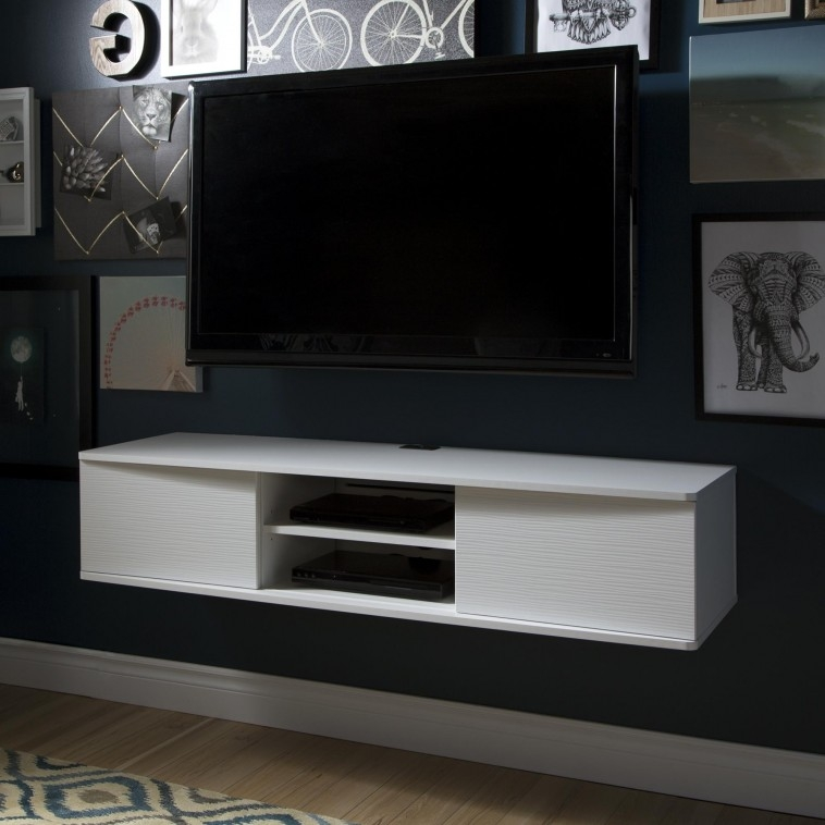 Remarkable Deluxe White Wall Mounted TV Stands Pertaining To Furniture White Wooden Floating Media Cabinet With Shelf Hanging (Image 41 of 50)
