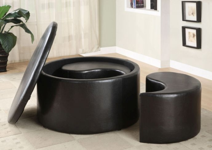 Remarkable Elite Circular Coffee Tables With Storage In Round Coffee Table With Storage Ottomans Adjustable Height Round (Image 36 of 50)