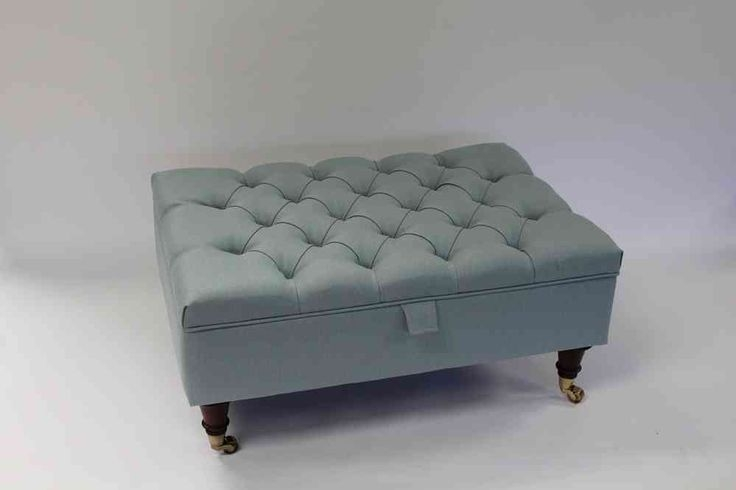 Remarkable Elite Footstool Coffee Tables With Regard To Duck Egg Blue Linen Chesterfield Upholstered Coffee Table Storage (Image 32 of 40)