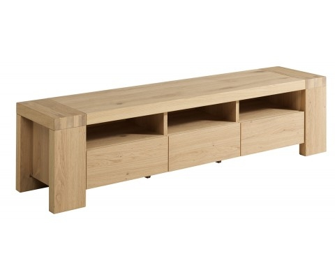 Remarkable Elite Long Oak TV Stands Regarding French Oak Tv Stand Unit With 3 Drawers And Shelves (Image 39 of 50)