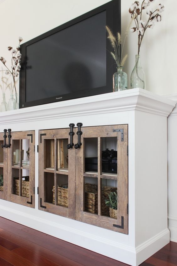 62 Best Tv Unit Images On Pinterest: 50 Inspirations Rustic White TV Stands