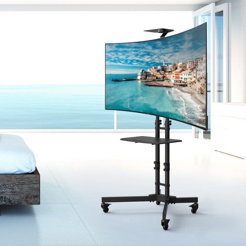 Remarkable Famous Curve TV Stands Throughout Loctek Store Loctek P3r Universal Mobile Curved Tv Cart Tv Stand (View 38 of 50)