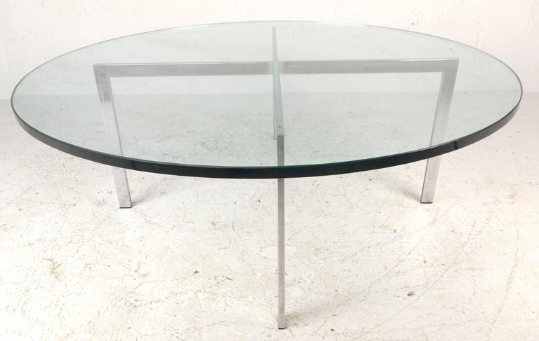 Remarkable Famous Glass And Chrome Coffee Tables In Mid Century Modern X Base Circular Chrome Coffee Table For Sale (Image 40 of 50)