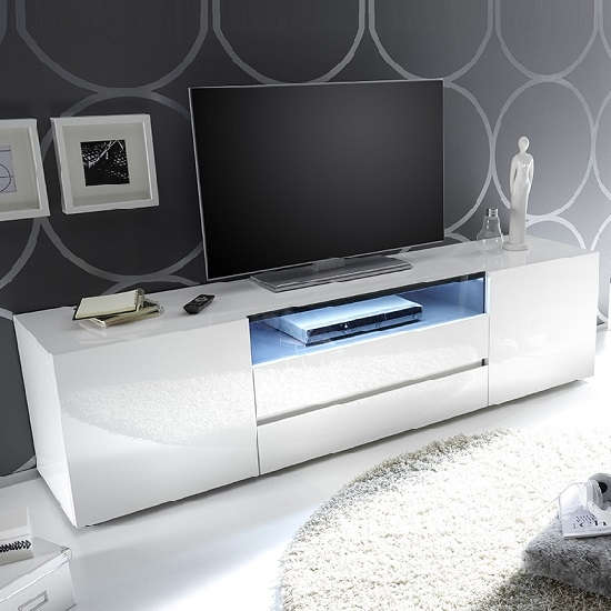 Remarkable Famous High Gloss White TV Stands Within Genie Tv Stand In High Gloss White With 2 Drawers And Led (Image 36 of 50)