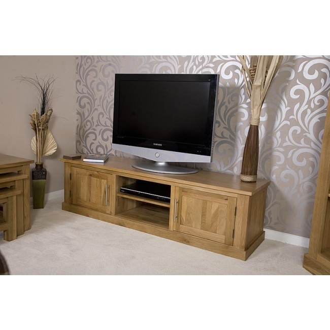 Remarkable Famous Long Oak TV Stands Pertaining To Delamere Solid Oak Plasma Lcd Tv Stand Best Price Guarantee (Image 40 of 50)