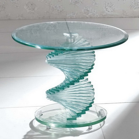 Remarkable Famous Swirl Glass Coffee Tables Regarding Swirl Glass Side Table (Image 38 of 50)