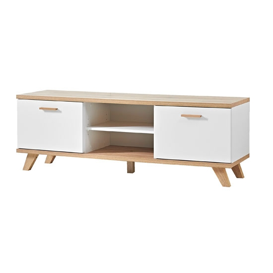 Remarkable Famous White And Wood TV Stands For Ohio Lcd Tv Stand In White And Solid Oak With 2 Door And (Image 39 of 50)