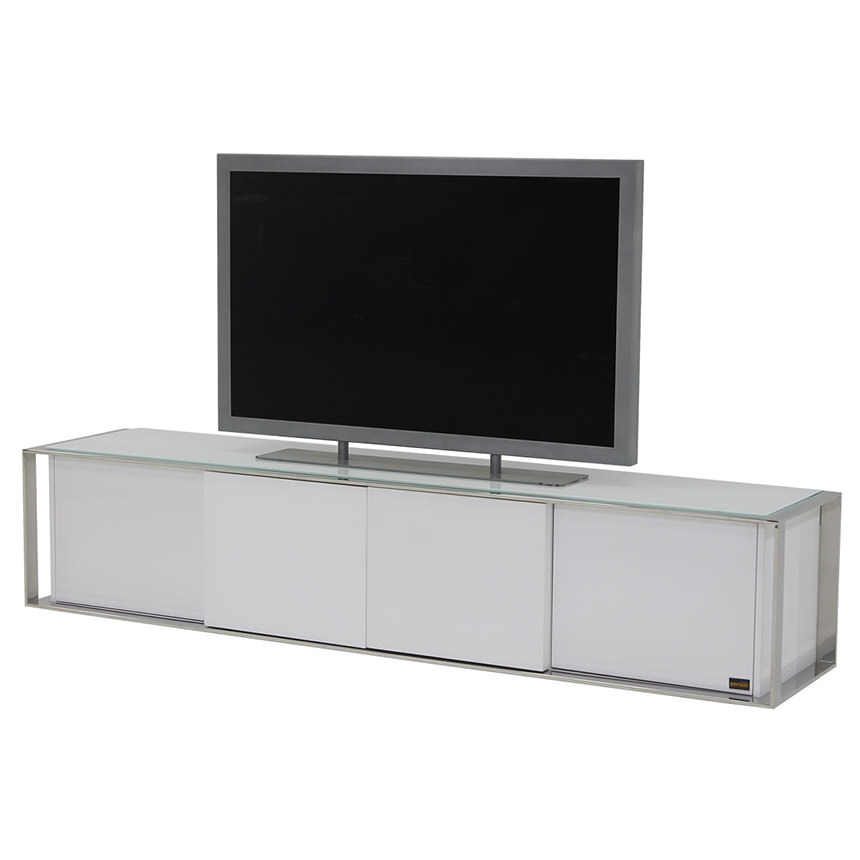 Remarkable Famous White TV Stands Intended For Cecilia White Tv Stand El Dorado Furniture (View 49 of 50)