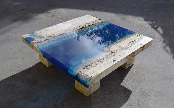 Remarkable Fashionable Blue Coffee Tables Regarding Serenity Now Blue Lagoon Coffee Table Made Of Marble Resin (Image 42 of 50)