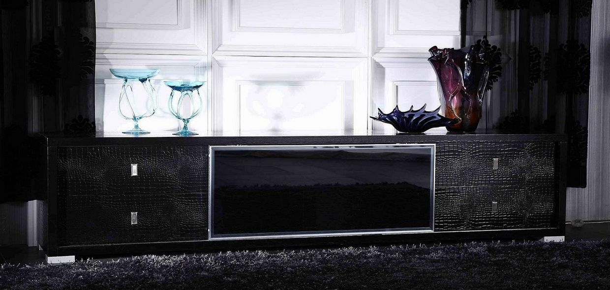 Remarkable Fashionable Contemporary Black TV Stands For Elegant Black Tv Stand With Crocodile Texture Brownsville Texas (View 21 of 50)