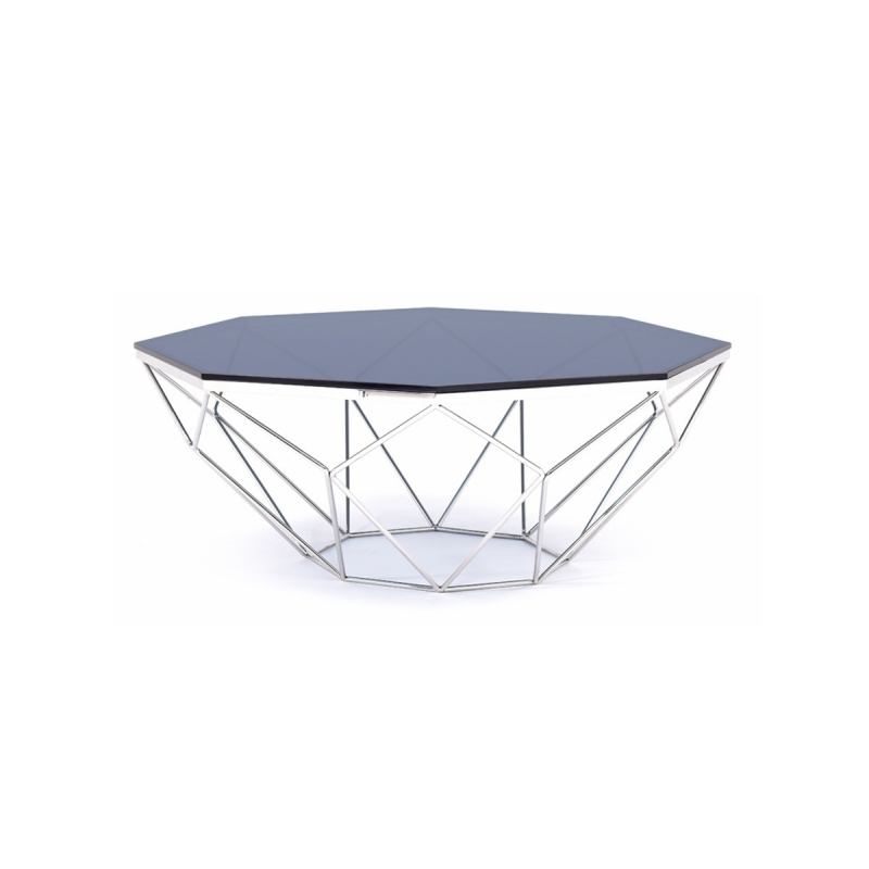 Remarkable Fashionable Glass Steel Coffee Tables Intended For Modrest Octave Modern Smoked Glass Stainless Steel Coffee Table (Image 43 of 50)