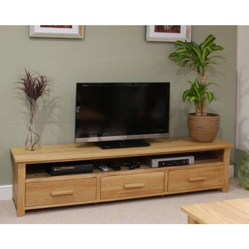 Remarkable Fashionable Oak Furniture TV Stands Pertaining To Opus Oak Furniture Wide Plasma Tv Unit Furniture4yourhome (Image 35 of 50)