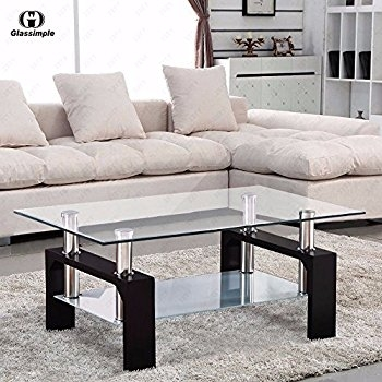 Remarkable Fashionable Rectangle Glass Chrome Coffee Tables In Amazon Virrea Rectangular Glass Coffee Table Shelf Wood (Image 41 of 50)