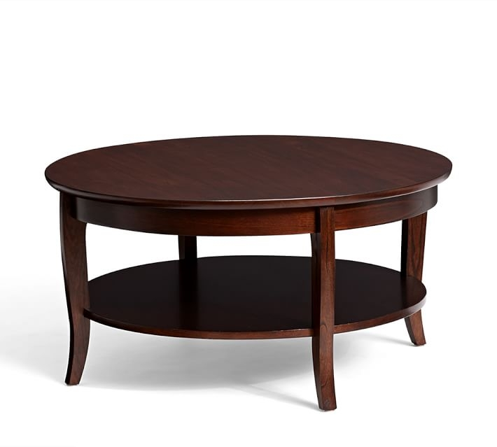Remarkable Fashionable Round Coffee Tables Pertaining To Chloe Round Coffee Table Pottery Barn (Image 36 of 50)