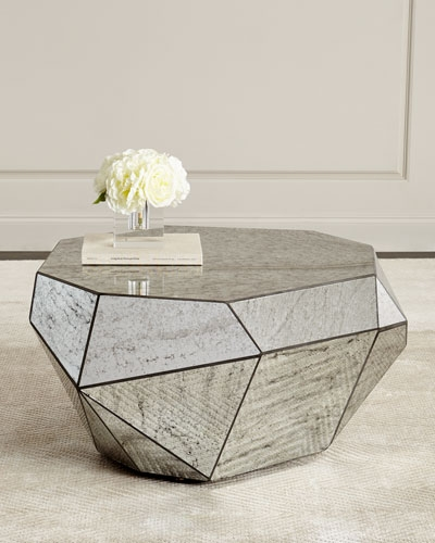 Remarkable Fashionable Round Mirrored Coffee Tables Within Marble Mirrored Coffee Tables At Neiman Marcus Horchow (Image 35 of 40)