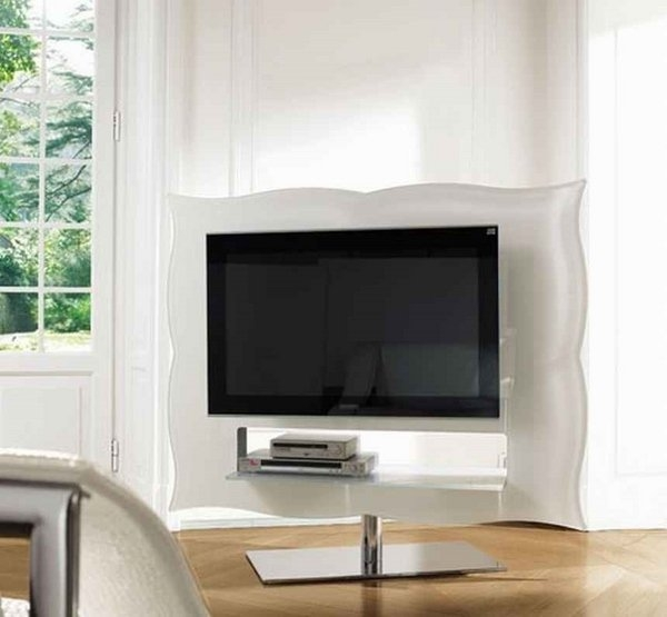 Remarkable Fashionable Round TV Stands Regarding Furniture Minimalist Living Room With Curved White Modern Sofa (Image 43 of 50)