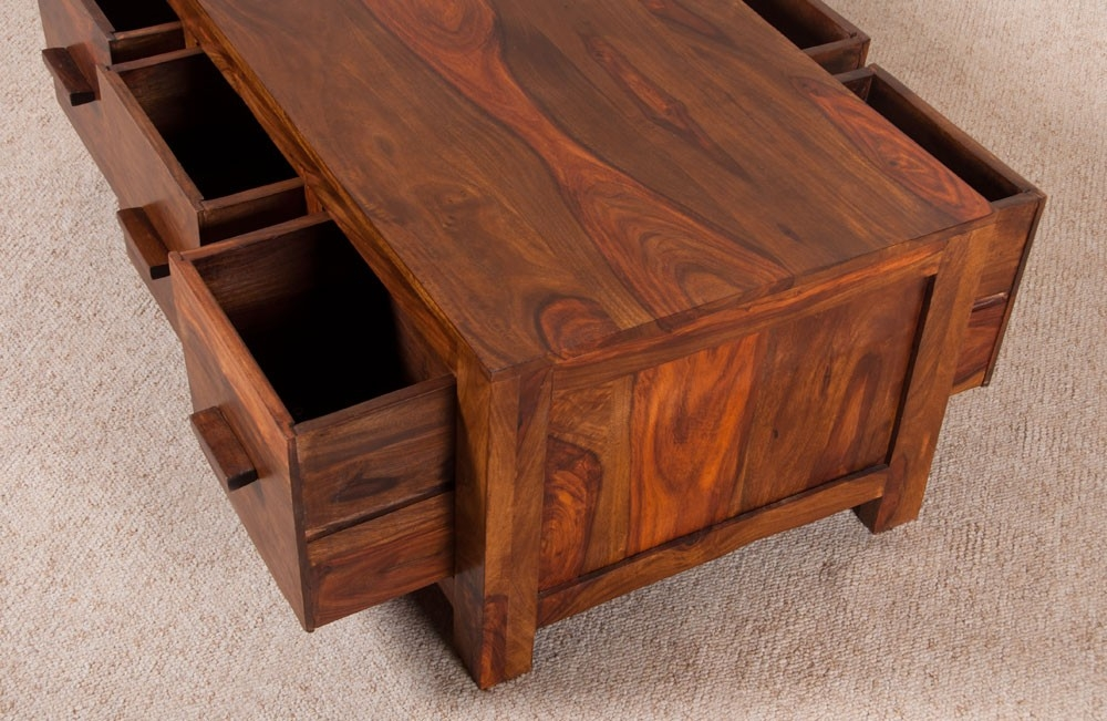 Remarkable Fashionable Sheesham Coffee Tables Inside Coffee Table Sheesham Wood Honey Coloured 6 Drawers Casa (View 7 of 50)